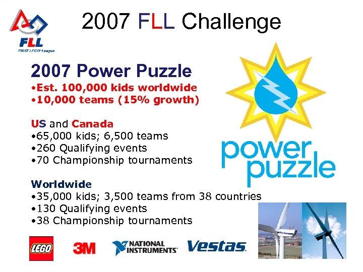 2007 FLL Challenge 2007 Power Puzzle • Est. 100, 000 kids worldwide • 10,