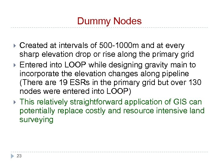 Dummy Nodes Created at intervals of 500 -1000 m and at every sharp elevation