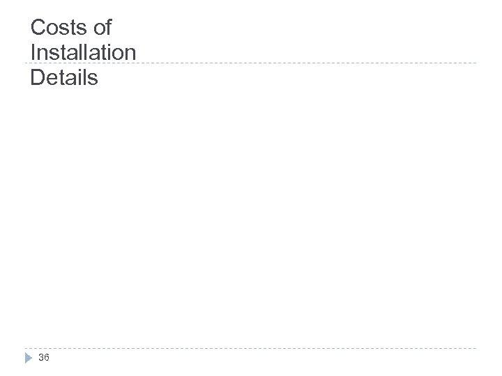 Costs of Installation Details 36