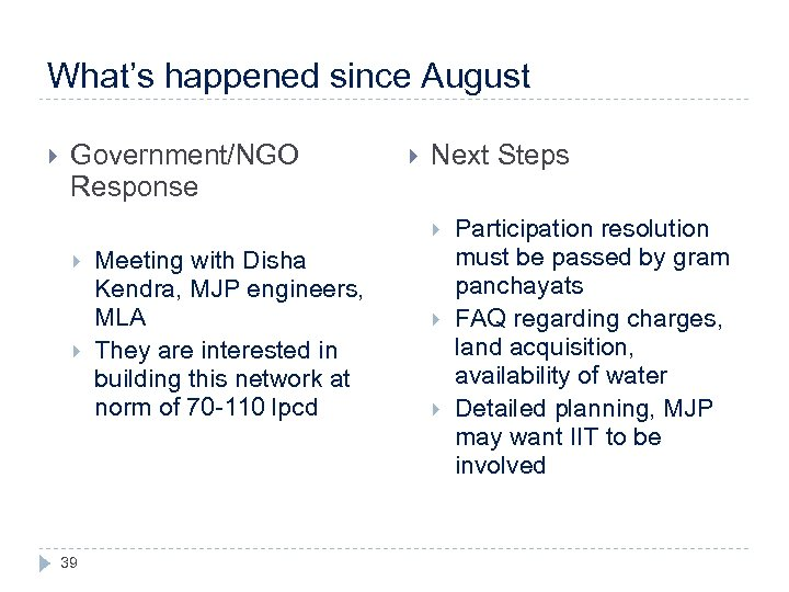 What's happened since August Government/NGO Response Next Steps 39 Meeting with Disha Kendra, MJP