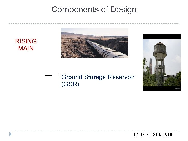 Components of Design RISING MAIN Ground Storage Reservoir (GSR) 17 -03 -201810/09/10