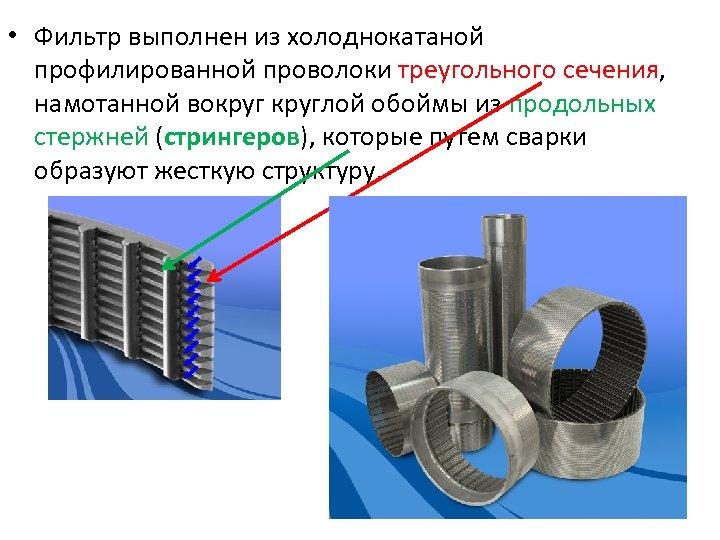 • Фильтр выполнен из холоднокатаной профилированной проволоки треугольного сечения, намотанной вокруглой обоймы из