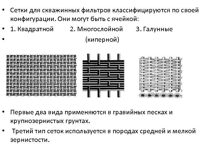 • Сетки для скважинных фильтров классифицируются по своей конфигурации. Они могут быть с