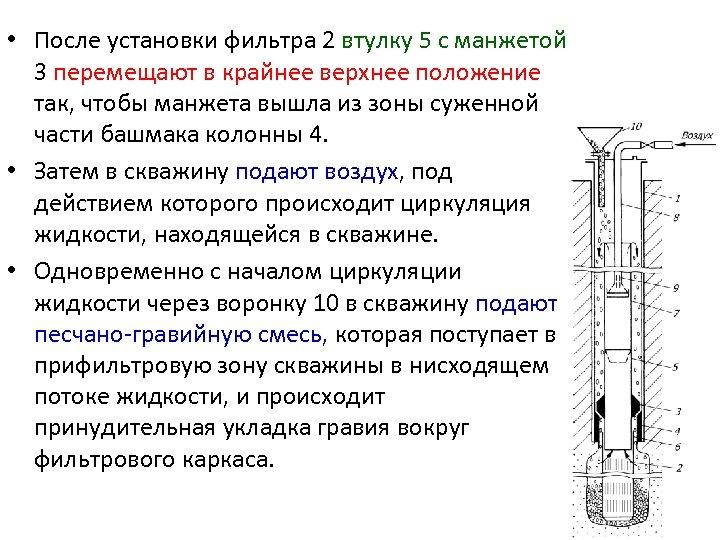 • После установки фильтра 2 втулку 5 с манжетой 3 перемещают в крайнее