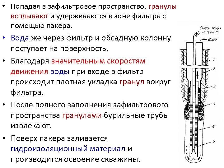 • Попадая в зафильтровое пространство, гранулы всплывают и удерживаются в зоне фильтра с