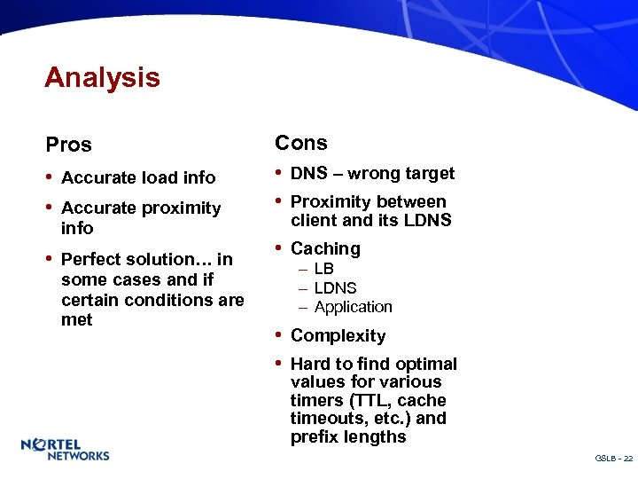 Analysis Pros Cons • Accurate load info • DNS – wrong target • Proximity