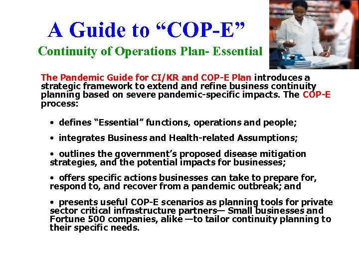 """A Guide to """"COP-E"""" Continuity of Operations Plan- Essential The Pandemic Guide for CI/KR"""