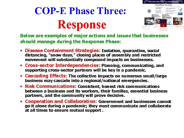 COP-E Phase Three: Response Below are examples of major actions and issues that businesses