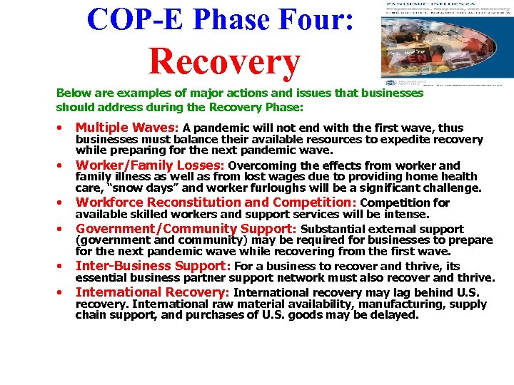 COP-E Phase Four: Recovery Below are examples of major actions and issues that businesses