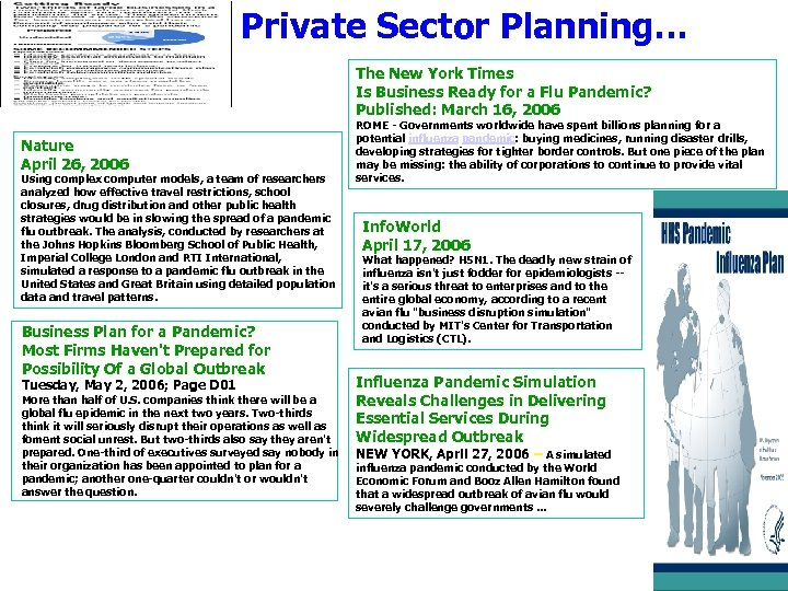 Private Sector Planning… The New York Times Is Business Ready for a Flu Pandemic?