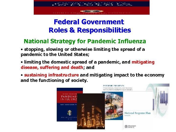 Federal Government Roles & Responsibilities National Strategy for Pandemic Influenza • stopping, slowing or