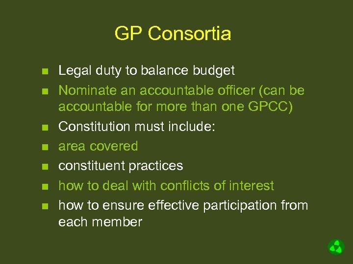 GP Consortia n n n n Legal duty to balance budget Nominate an accountable