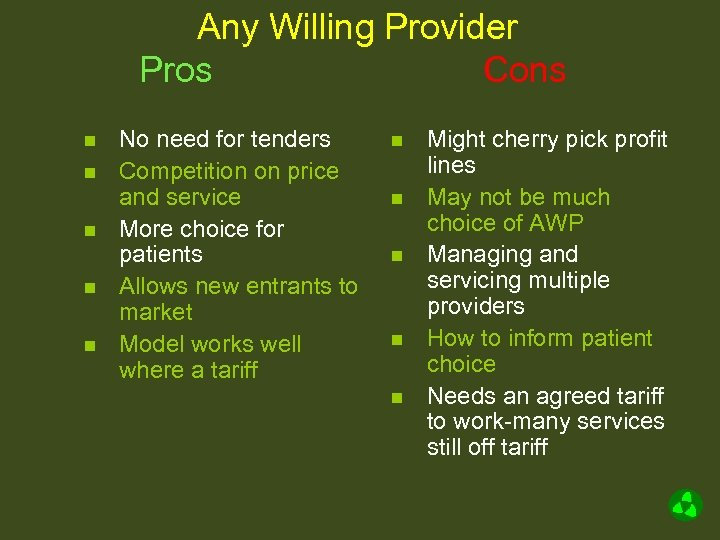 Any Willing Provider Pros Cons n n n No need for tenders Competition on