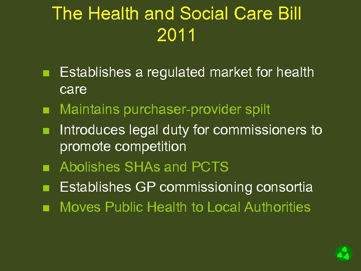 The Health and Social Care Bill 2011 n n n Establishes a regulated market