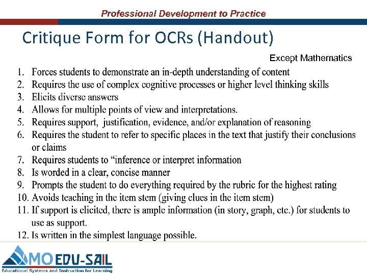 Professional Development to Practice Critique Form for OCRs (Handout) Except Mathematics