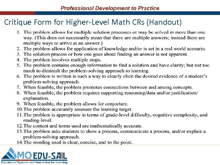 Professional Development to Practice Critique Form for Higher-Level Math CRs (Handout)