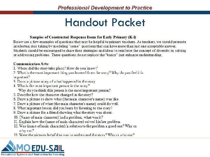 Professional Development to Practice Handout Packet