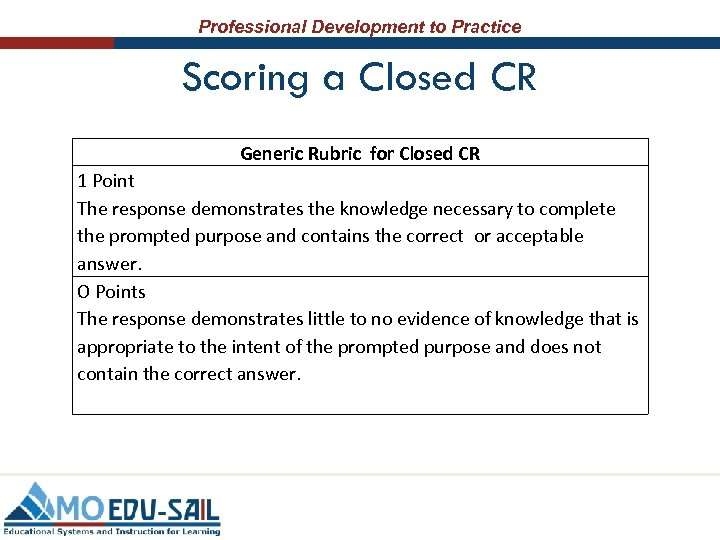 Professional Development to Practice Scoring a Closed CR Generic Rubric for Closed CR 1