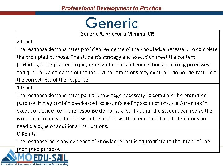 Professional Development to Practice Generic Rubric for a Minimal CR 2 Points The response