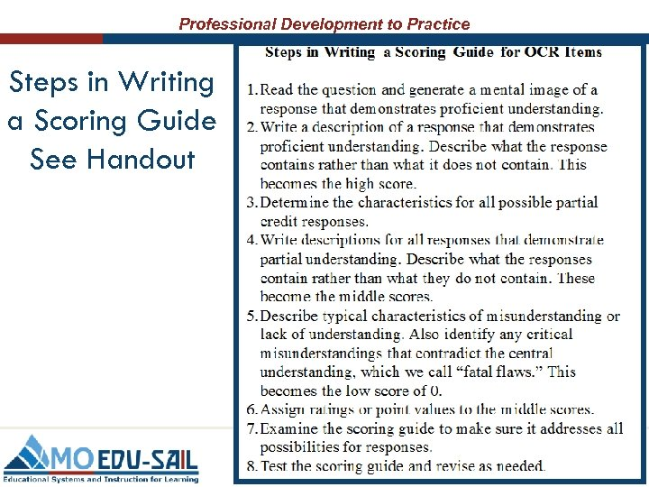Professional Development to Practice Steps in Writing a Scoring Guide See Handout