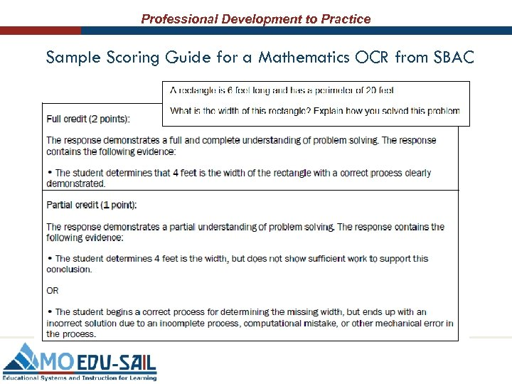 Professional Development to Practice Sample Scoring Guide for a Mathematics OCR from SBAC