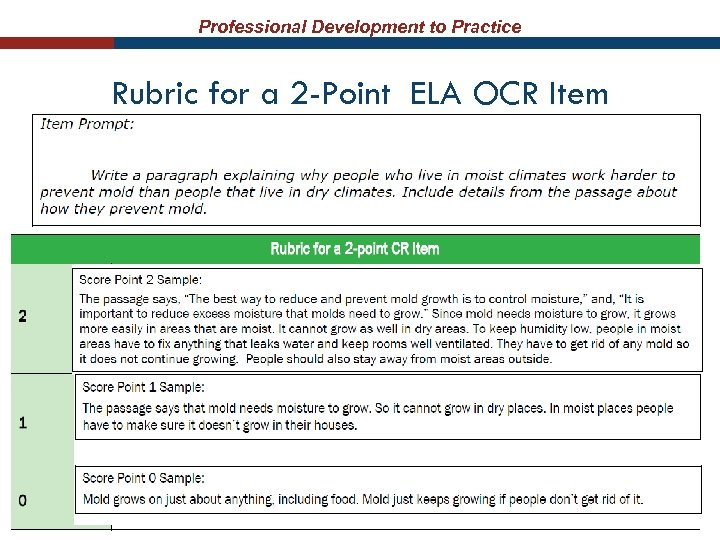 Professional Development to Practice Rubric for a 2 -Point ELA OCR Item