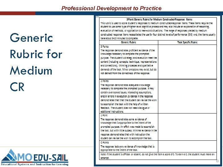 Professional Development to Practice Generic Rubric for Medium CR