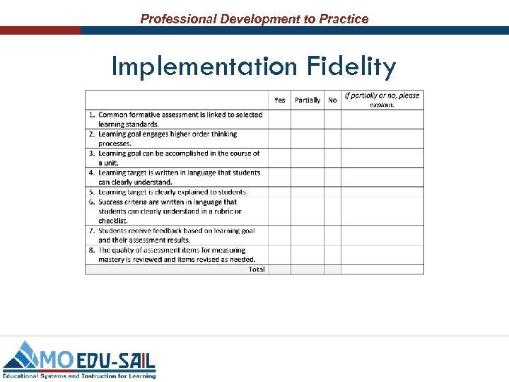 Professional Development to Practice Implementation Fidelity
