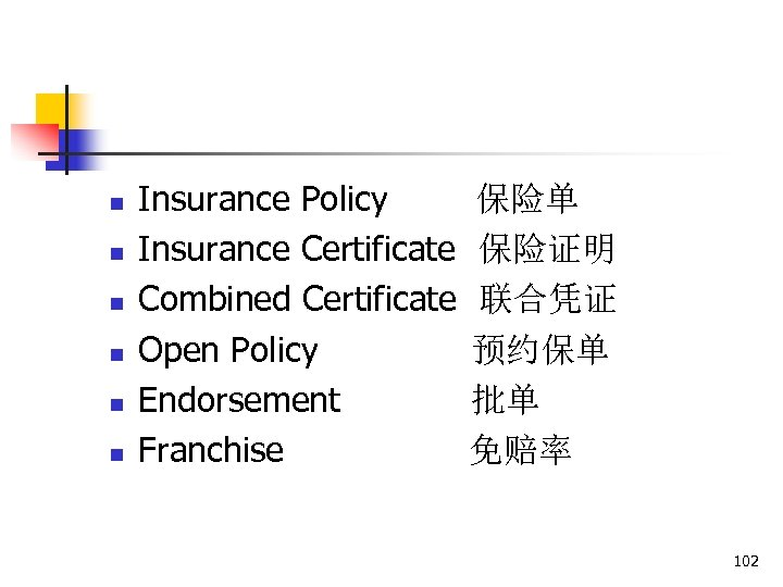 n n n Insurance Policy Insurance Certificate Combined Certificate Open Policy Endorsement Franchise 保险单