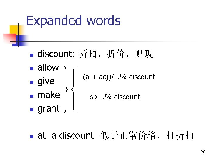Expanded words n discount: 折扣,折价,贴现 allow (a + adj)/…% discount give make sb …%