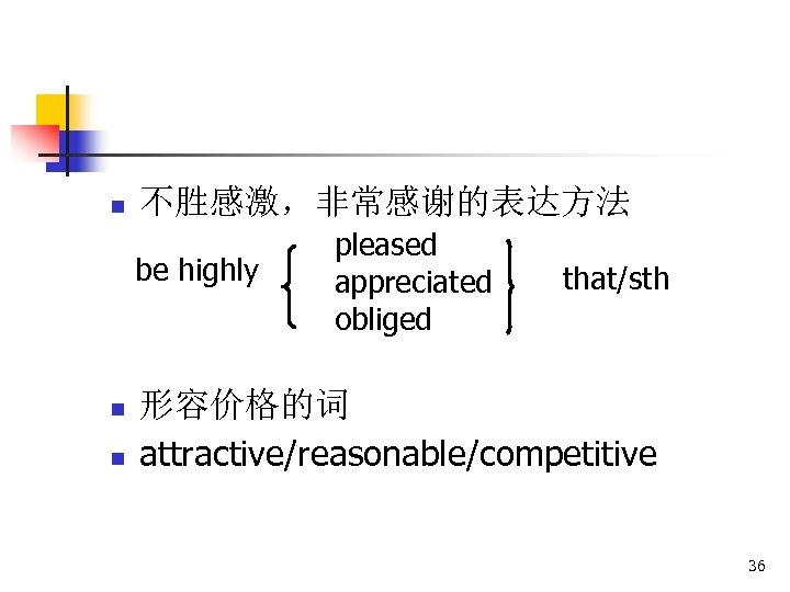 n 不胜感激,非常感谢的表达方法 be highly n n pleased appreciated obliged that/sth 形容价格的词 attractive/reasonable/competitive 36