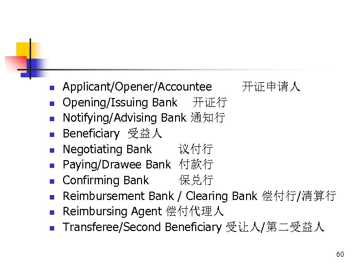 n n n n n Applicant/Opener/Accountee 开证申请人 Opening/Issuing Bank 开证行 Notifying/Advising Bank 通知行 Beneficiary