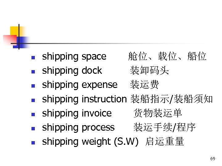 n n n n shipping shipping space 舱位、载位、船位 dock 装卸码头 expense 装运费 instruction 装船指示/装船须知