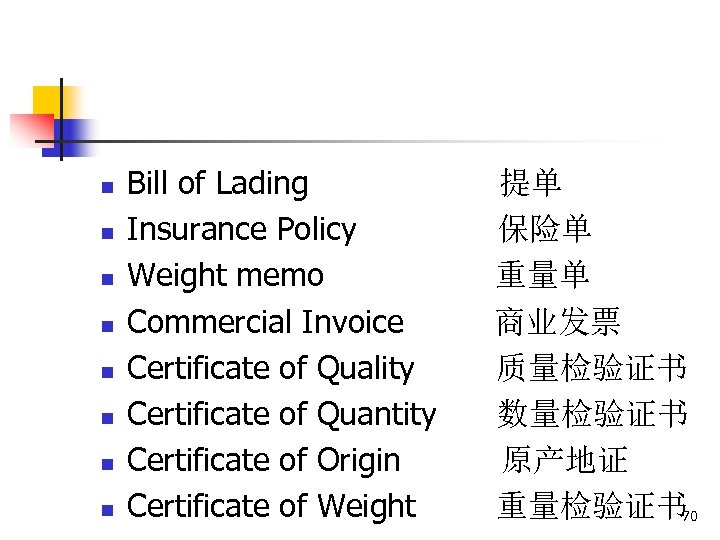 n n n n Bill of Lading Insurance Policy Weight memo Commercial Invoice Certificate