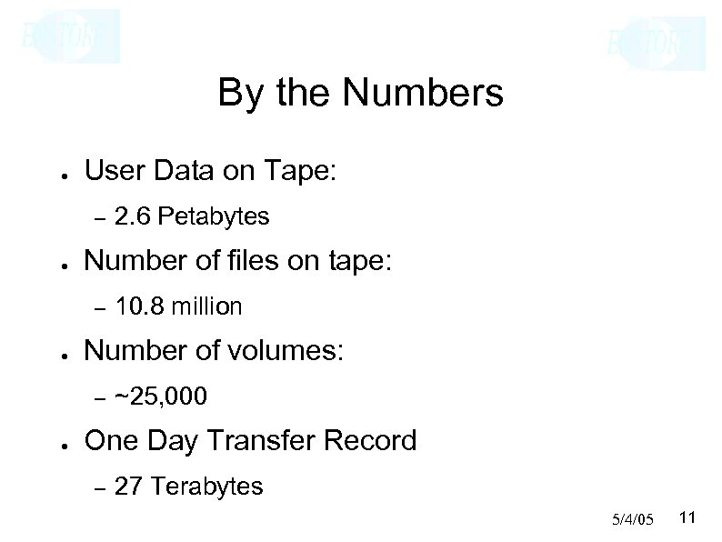 By the Numbers ● User Data on Tape: – ● Number of files on