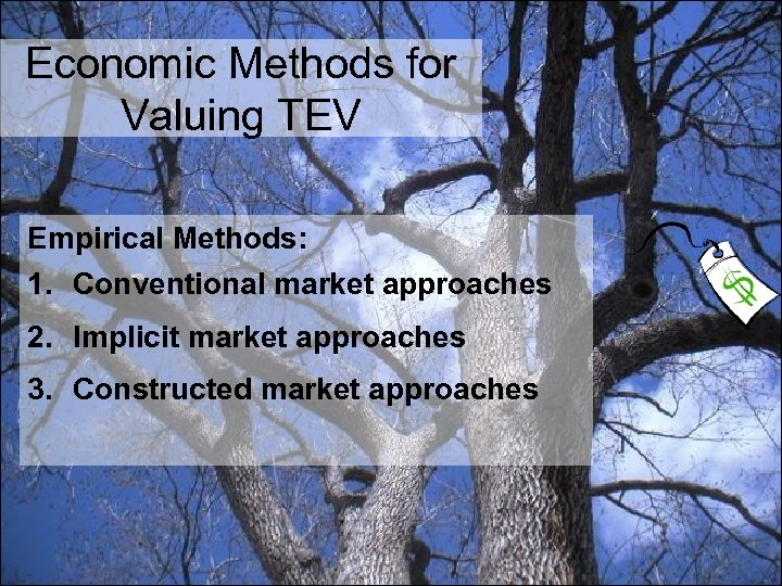 Economic Methods for Valuing TEV Empirical Methods: 1. Conventional market approaches 2. Implicit market