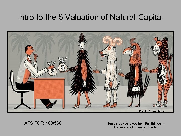 Intro to the $ Valuation of Natural Capital Graphic: Economist. com AFS FOR 460/560