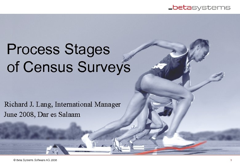 Process Stages of Census Surveys Richard J. Lang, International Manager June 2008, Dar es