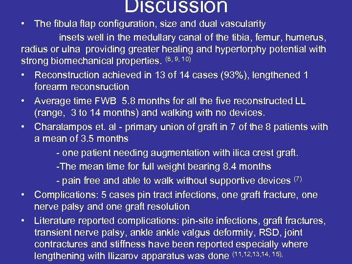 Discussion • The fibula flap configuration, size and dual vascularity insets well in the