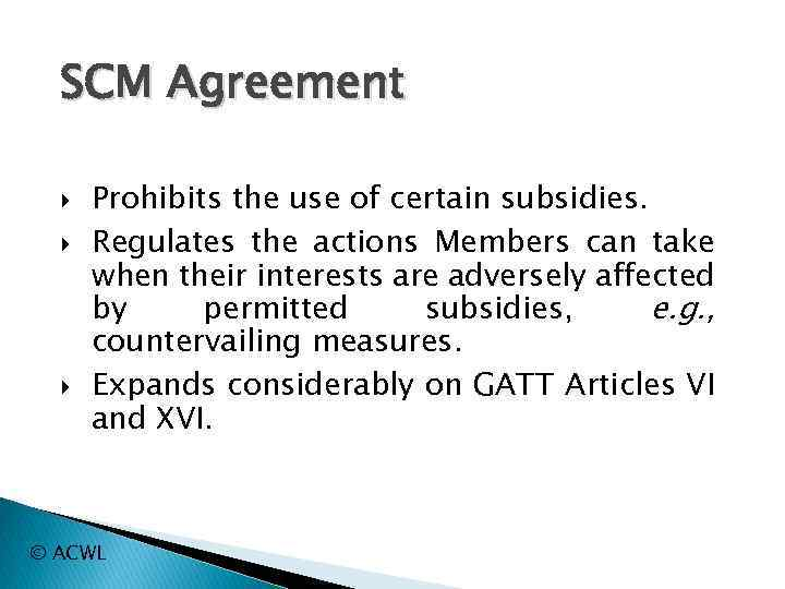 Wto Law Fernando Pirola Special Agreements On Trade