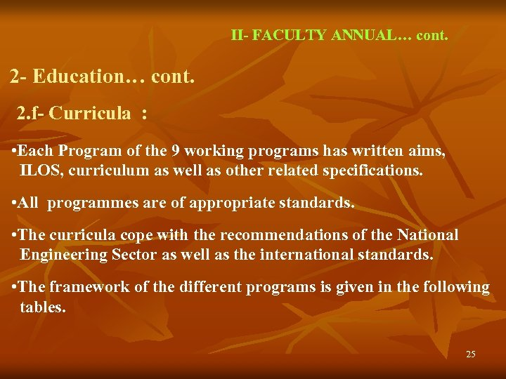 II- FACULTY ANNUAL… cont. 2 - Education… cont. 2. f- Curricula : • Each