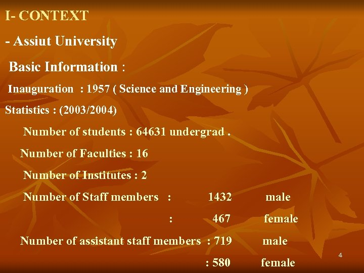 I- CONTEXT - Assiut University Basic Information : Inauguration : 1957 ( Science and