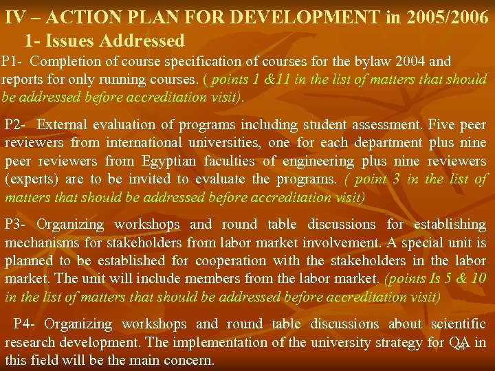 IV – ACTION PLAN FOR DEVELOPMENT in 2005/2006 1 - Issues Addressed P 1