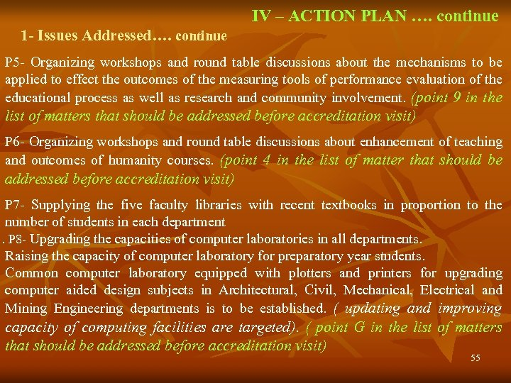 IV – ACTION PLAN …. continue 1 - Issues Addressed…. continue P 5