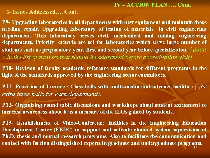 IV – ACTION PLAN …. Cont. 1 - Issues Addressed…. Cont. P 9