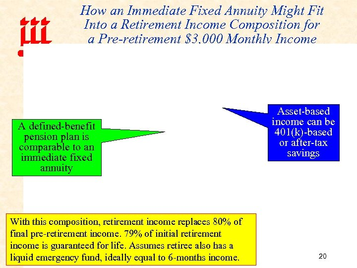 How an Immediate Fixed Annuity Might Fit Into a Retirement Income Composition for a