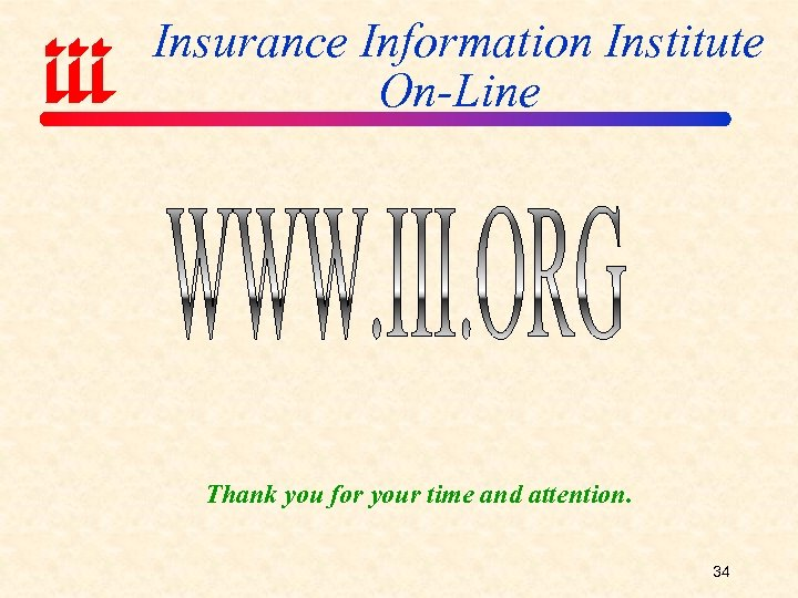 Insurance Information Institute On-Line Thank you for your time and attention. 34
