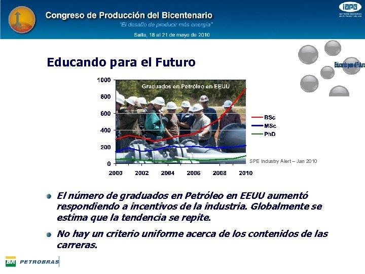 Educando para el Futuro SPE Industry Alert – Jan 2010 El número de graduados