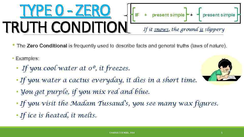 TYPE 0 - ZERO TRUTH CONDITION IF + present simple If it snows, the