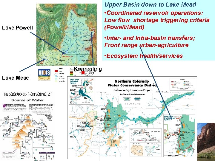 Upper Basin down to Lake Mead • Coordinated reservoir operations: Low flow shortage triggering